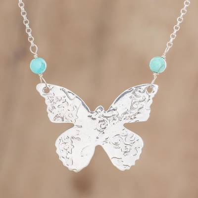 Sterling silver pendant necklace, 'Butterfly Texture' - Sterling Silver and Recon. Turquoise Pendant Necklace