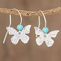Sterling silver drop earrings, 'Butterfly Texture' - Sterling Silver and Recon Turquoise Butterfly Drop Earrings