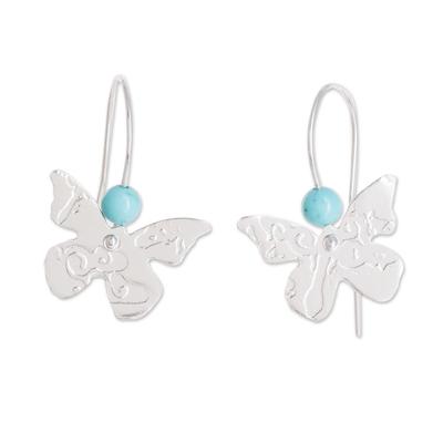 Sterling silver drop earrings, 'Butterfly Texture' - Sterling Silver and Recon Turquoise Butterfly Drop Earrings