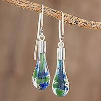 Art glass dangle earrings, 'Ocean Reflection' - Blue and Green Art Glass Dangle Earrings from Costa Rica