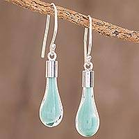 Art glass dangle earrings, 'Sky Lake' - Sky Blue Art Glass Dangle Earrings from Costa Rica