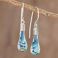 Art glass dangle earrings, 'Flirty Waves' - Blue Art Glass Dangle Earrings from Costa Rica