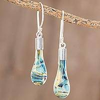 Art glass dangle earrings, 'Sand and Sea' - Handmade Art Glass Dangle Earrings from Costa Rica