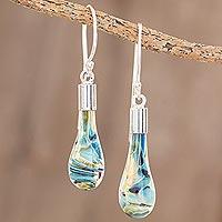 Art glass dangle earrings, 'Sand and Sea'