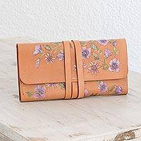 Leather wallet, 'Flowers of the Countryside' - Hand-Painted Purple Floral Leather Wallet from Costa Rica