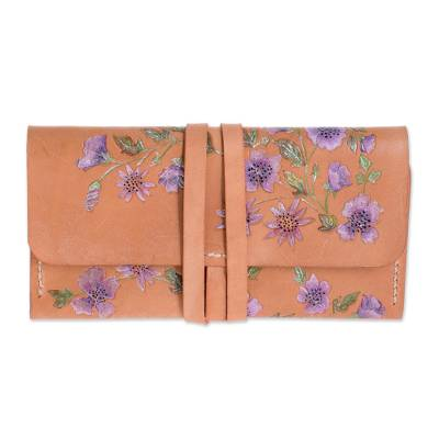 Hand-Painted Purple Floral Leather Wallet from Costa Rica