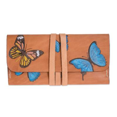 Hand-Painted Butterfly Motif Leather Wallet from Costa Rica