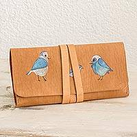 Leather wallet, 'Song of Birds' - Bird Motif Hand-Painted Leather Wallet from Costa Rica