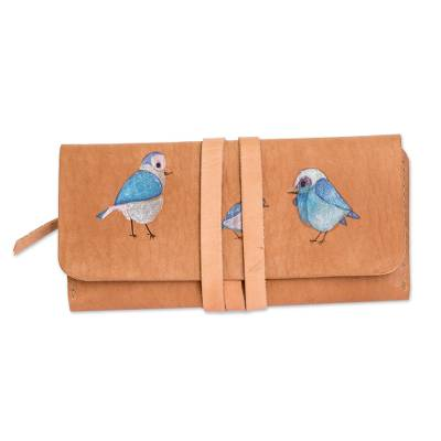 Bird Motif Hand-Painted Leather Wallet from Costa Rica
