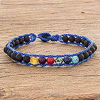 Men's glass and lava stone beaded macrame bracelet, 'Planet Colors in Blue' - Men's Glass and Lava Stone Beaded Macrame Bracelet in Blue