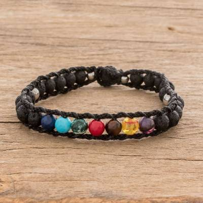 Men's glass and lava stone beaded macrame bracelet, 'Planet Colors in Black' - Men's Glass and Lava Stone Beaded Macrame Bracelet in Black