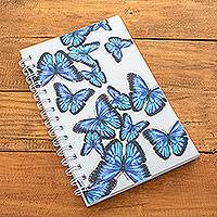 Paper journal, 'Morpheus Flutter' - Butterfly-Themed Sustainable Paper Journal from Costa Rica