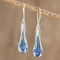 Art glass dangle earrings, 'Blue Bay' - Handcrafted Art Glass Dangle Earrings from Costa Rica