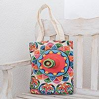 Cotton tote, 'Costa Rican Colors' - Abstract Colorful Cotton Tote from Costa Rica