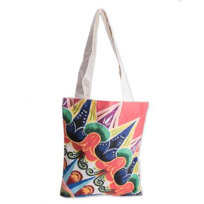 Colorful Printed Cotton Tote from Costa Rica