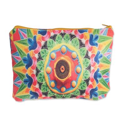 Multicolored Cotton Cosmetic Bag from Costa Rica