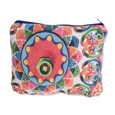 Abstract Colorful Cotton Cosmetic Bag from Costa Rica