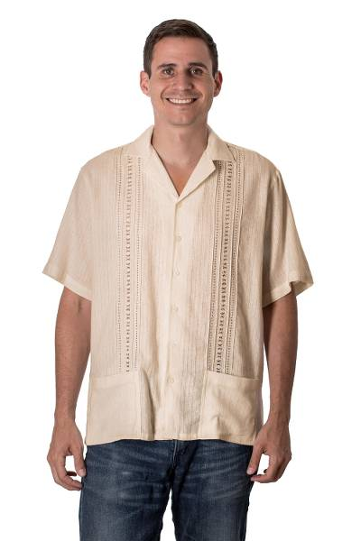 Men's cotton guayabera shirt, 'Handsome Lines in Ecru' - Men's Patterned Cotton Guayabera Shirt in Ecru