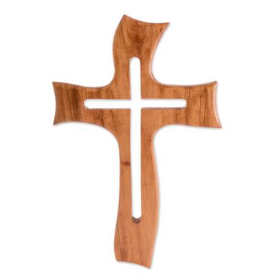 Artisan Crafted Cedar Wood Wall Cross from Guatemala