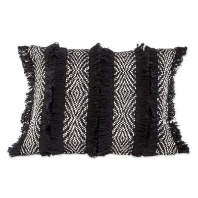 Black and Eggshelled Textured Cotton Cushion Cover