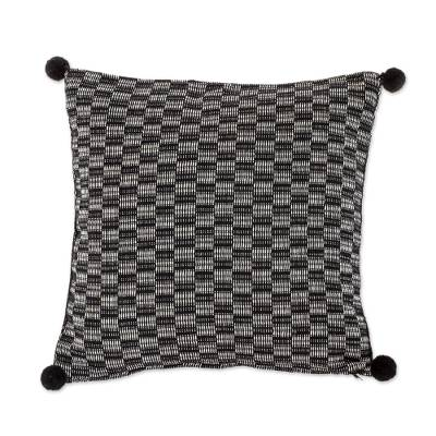 Black and Eggshell Cotton Cushion Cover from Guatemala