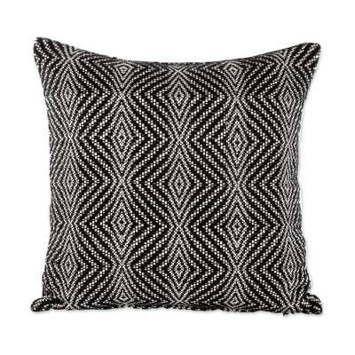 Diamond Pattern Cotton Cushion Cover in Black from Guatemala