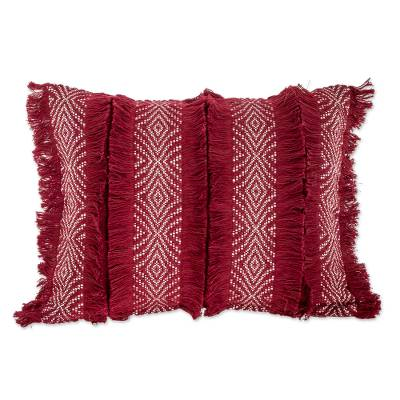 Chili and Eggshell Textured Cotton Cushion Cover