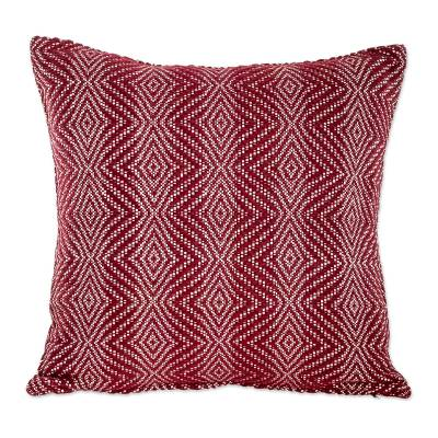 Diamond Pattern Cotton Cushion Cover in Chili from Guatemala