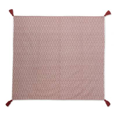 Rhombus Motif Cotton Throw in Chili and Eggshell