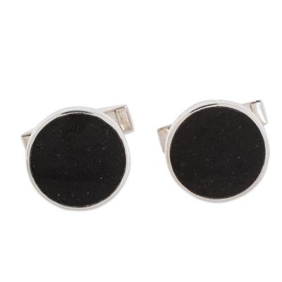 Jade cufflinks, 'Eclipse of the Moon' - Modern Black Guatemalan Jade and Silver 925 Cufflinks