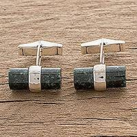 Jade cufflinks, 'Bold Archaeology' - Dark Green Jade Cufflinks Crafted in Guatemala