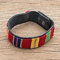 Cotton and leather wristband bracelet, 'Mayan Toucan' - Colorful Cotton and Leather Wristband Bracelet