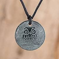 Jade pendant necklace, 'Kame' - Hand-Carved Jade Owl Pendant Necklace from Guatemala