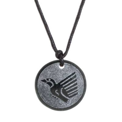 Jade pendant necklace, 'Iq' - Hand-Carved Jade Hummingbird Pendant Necklace from Guatemala