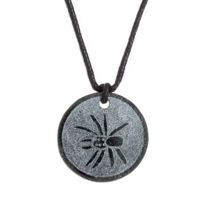 Jade pendant necklace, 'K'at' - Hand-Carved Jade Spider Pendant Necklace from Guatemala