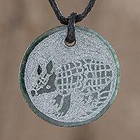 Jade pendant necklace, 'Aj' - Hand-Carved Jade Armadillo Pendant Necklace from Guatemala