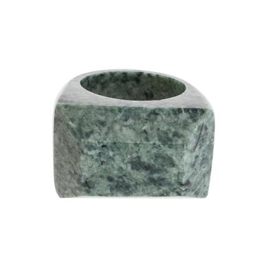 Jade signet ring, 'Green Steppe' - Pyramid-Shaped Jade Signet Ring from Guatemala