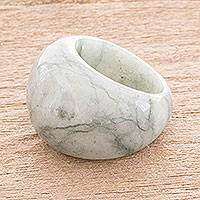 Jade domed ring, 'Earthen Wisdom' - Apple Green Jade Domed Ring from Guatemala