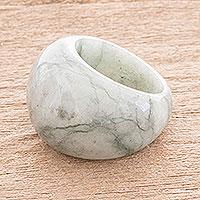 Jade domed ring, 'Earthen Wisdom' - Apple Green Jade Domed Ring from Guatemala