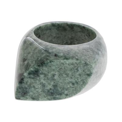 Jade signet ring, 'Green Eye' - Natural Green Jade Signet Ring Crafted in Guatemala