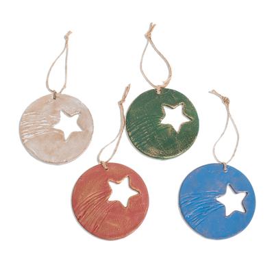 Assorted Star Pattern Ceramic Ornaments (Set of 4)