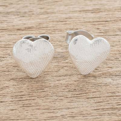 Fine silver stud earrings, 'Fingerprint of Love' - Heart-Shaped Fine Silver Stud Earrings from Guatemala