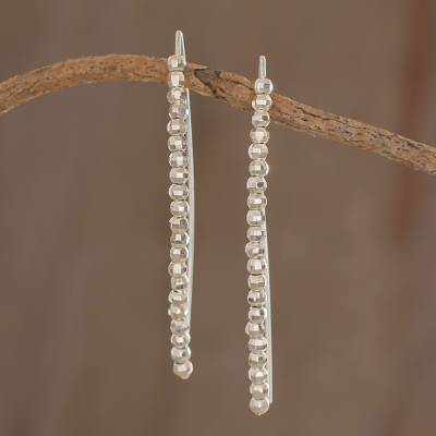 Fine silver beaded drop earrings, 'Rain of Light' - Fine Silver Beaded Drop Earrings from Guatemala