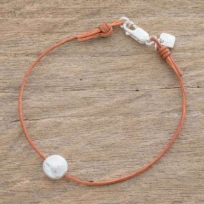 Fine silver pendant bracelet, 'Magic Planet in Light Brown' - Fine Silver Pendant Bracelet with Light Brown Leather Cord