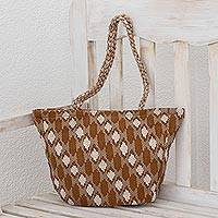 Cotton tote, 'Milk Coffee' - Handwoven Patterned Cotton Tote in Brown from Guatemala