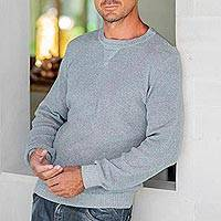 Men's recycled cotton sweater, 'Sporting Elegance in Blue' - Men's Recycled Cotton Pullover in Blue from Guatemala