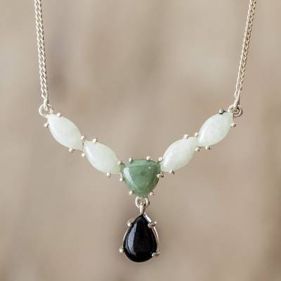 Jade pendant necklace, 'Natural Trio' - Modern 925 Silver Necklace with Jade in 3 Colors