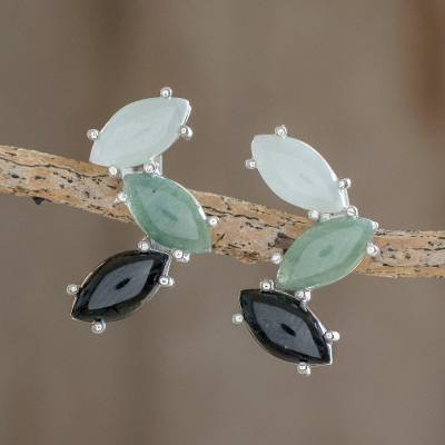 Jade button earrings, 'Natural Trio' - Modern 925 Silver Earrings with Jade in 3 Colors