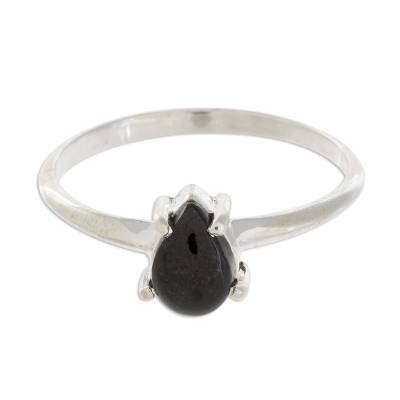 Sterling Silver Solitaire Ring with Black Guatemalan Jade
