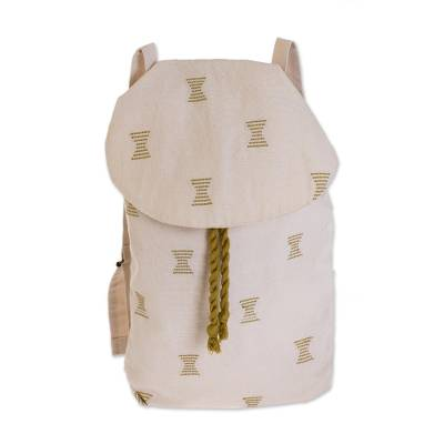 Hourglass Motif Cotton Backpack from Guatemala
